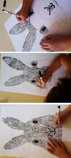 streepjes zetten -  of arceren -  een leuke tekentechniek met mooie resultaten OBMB