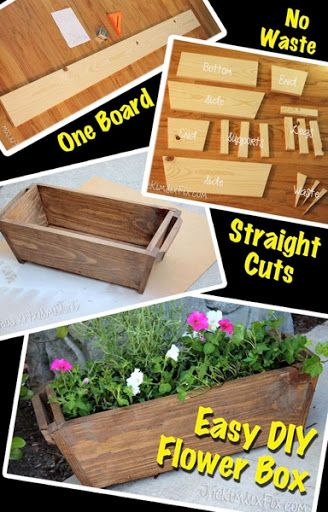 Create this simple tapered Flower Box out of a single 1x8 board. It only requires straight cuts, and simple assembly. Plus there is practically no wasted wood! A great starter woodworking project!