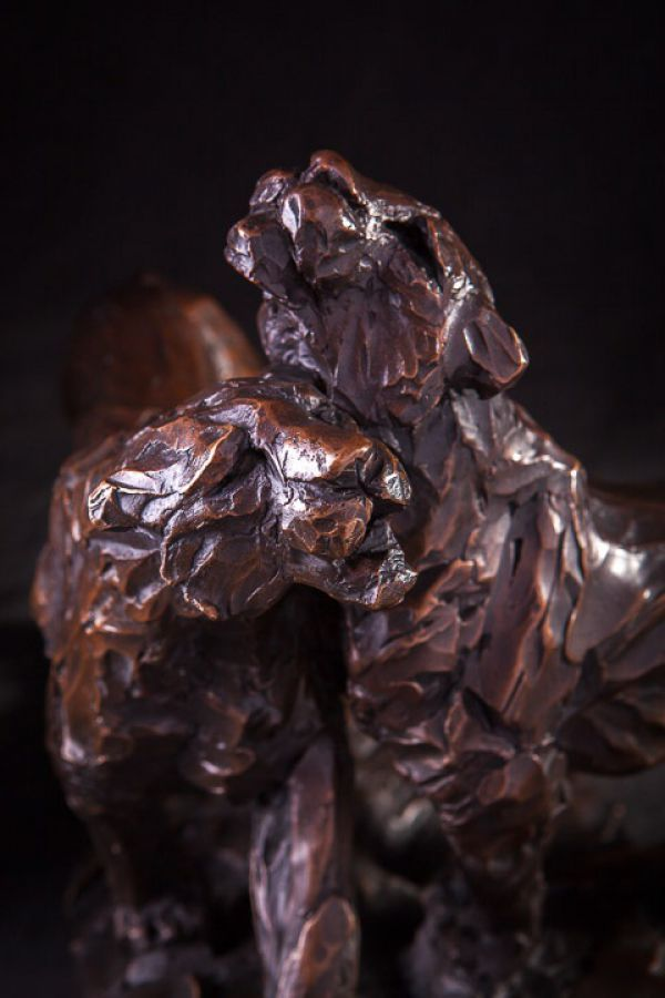 #Bronze #sculpture by #sculptor Matt Withington titled: 'Sisters (Small Bronze Pair Lioness Morning Greet sculpture/statuettes)'. #MattWithington