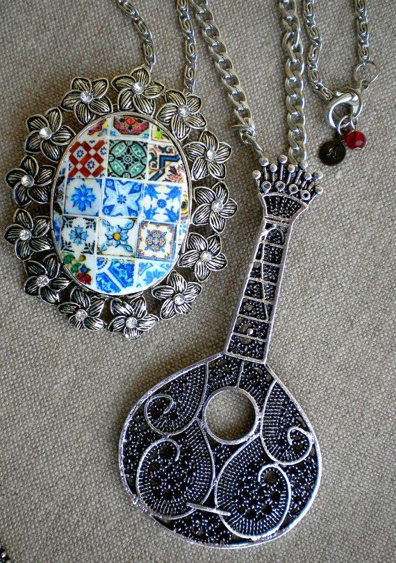 Portugal Antique Azulejo Tiles Replica Collage Pendant by Atrio,