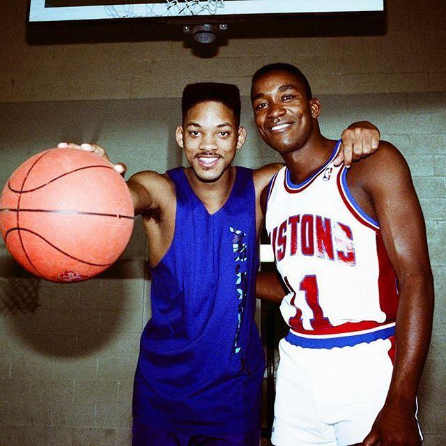 Deux des plus grosses légendes du basket des 90's #willsmith #freshprince #belair #isiahthomas #detroit #Pistons #badboys #chicagosfinest #philly #legends #basketball #hoopculture