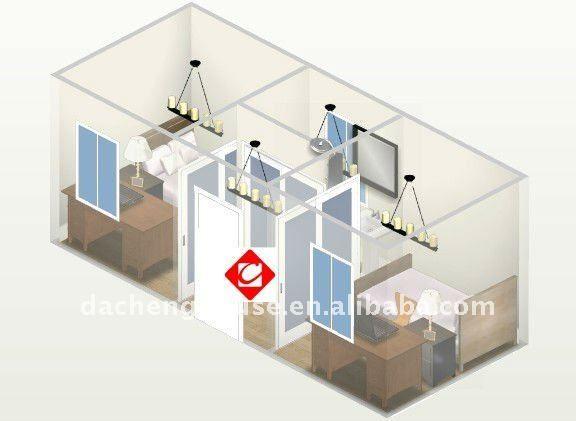 Dos dormitorios moderna casa contenedor de 40 pies para la venta