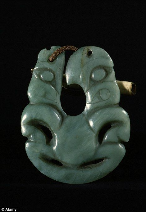 A Maori Hei matau (fish hook) pendant made of jade from New Zealand. File picture