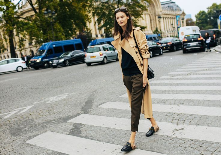 Diana Moldovan with Gucci shoes. Phil Oh's Fashion Week Street Style: Spring 2016 Ready-to-Wear #trenchcoat