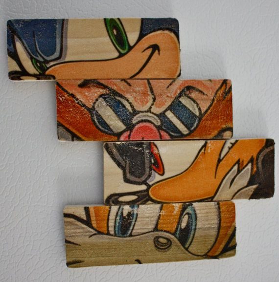 Sonic The Hedgehog Inspired Fridge Magnets Vintage Finish Set Of 4 Maybe I Could Modge