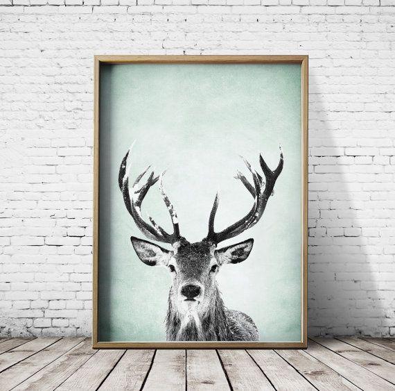 Wall Art Print Deer Print Deer Antlers Stag Print Animal Print  Grey Print