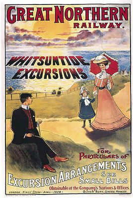 TR62 Vintage Whitsuntide Excursions Great Northern Railway Poster Re-Print A4