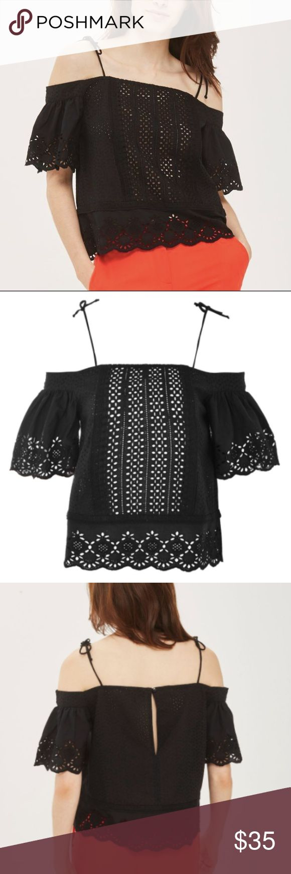Eyelet Bardot Top Intricate broderie anglais furthers the vintage appeal of a breezy black top styled with fluttery, off-the-shoulder sleeves and delicate bow-tied straps. - Ties at the shoulders - Elbow-length sleeves - 100% cotton New with tags! UK Size 12 translates to a size 6 or 8, so labeled on Poshmark as a medium Topshop Tops Blouses