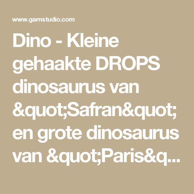 """Dino - Kleine gehaakte DROPS dinosaurus van """"Safran"""" en grote dinosaurus van """"Paris"""". - Free pattern by DROPS Design"""
