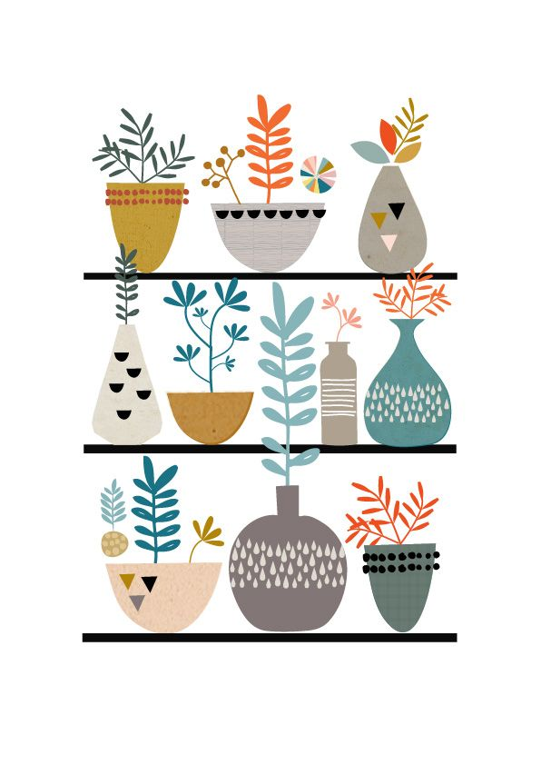 Flora And Succulents Illustrated Print                                                                                                                                                                                 More
