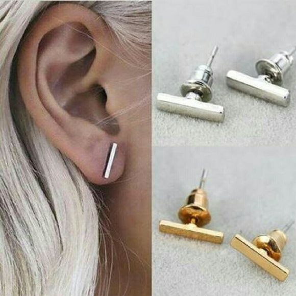 Minimalist Flat Gold Bar Stud earrings Minimalist Lovely stylish flat gold bar studs and backs. Jewelry Earrings