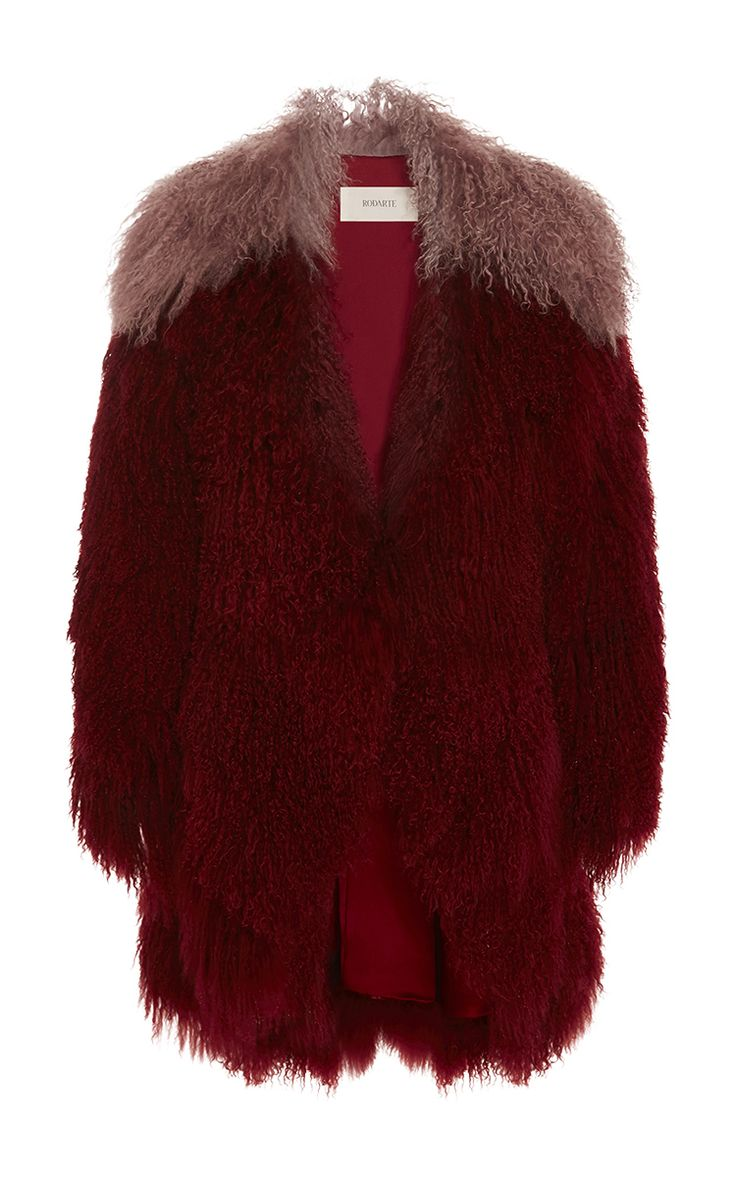Rodarte SS 2016 Look 23 Burgundy And Lavender Mongolian Lamb Fur Jacket