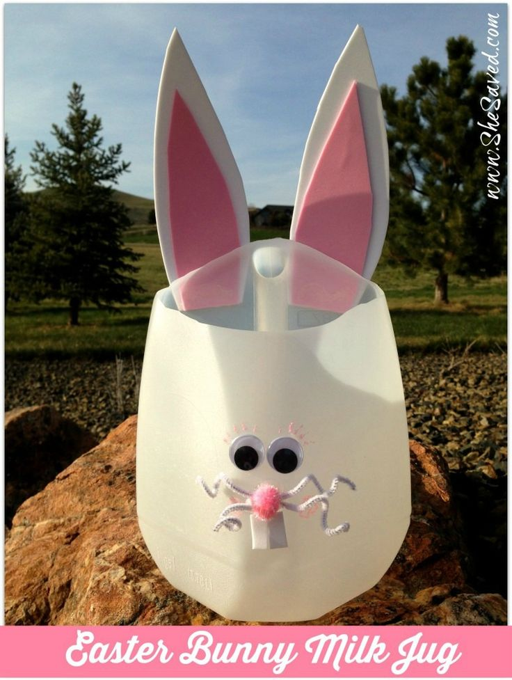Milk Jug Easter Craft - She Saved.  So adorable, so simple to make, and a perfect egg hunt basket!   www.SheSaved.com