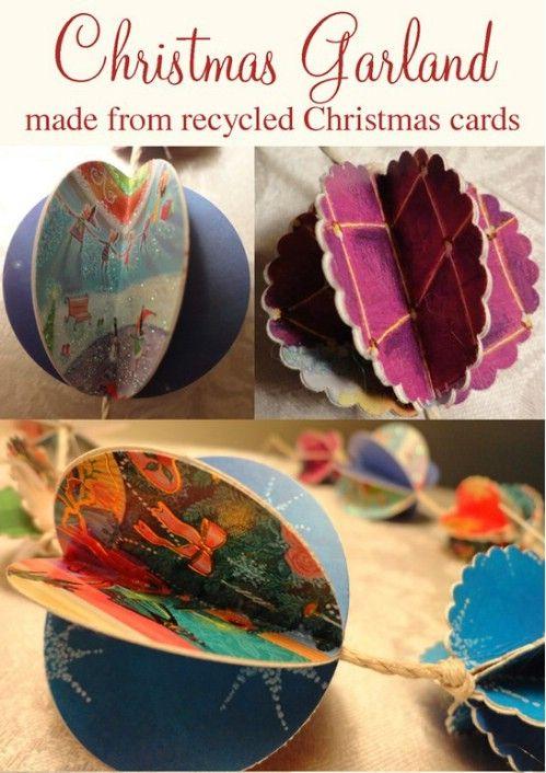 Christmas Card Garland - 20 Genius DIY Recycled and Repurposed Christmas Crafts