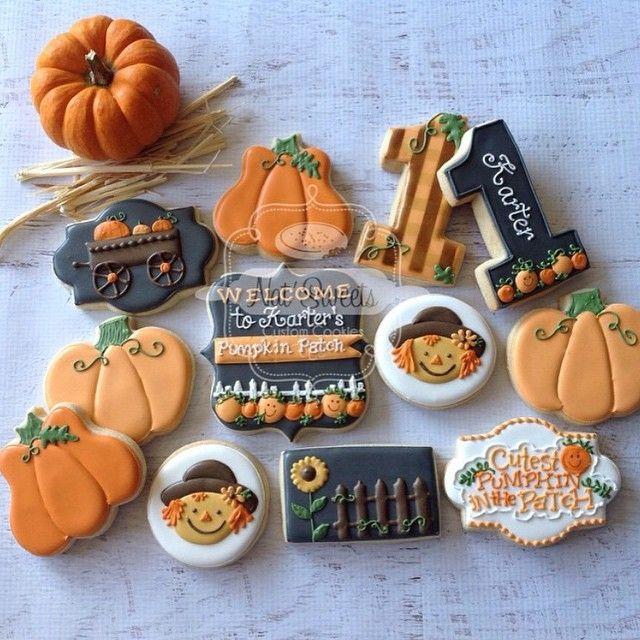 116 best Fall Cookies images on Pinterest Cookies, Decorated - halloween pumpkin cookies decorating