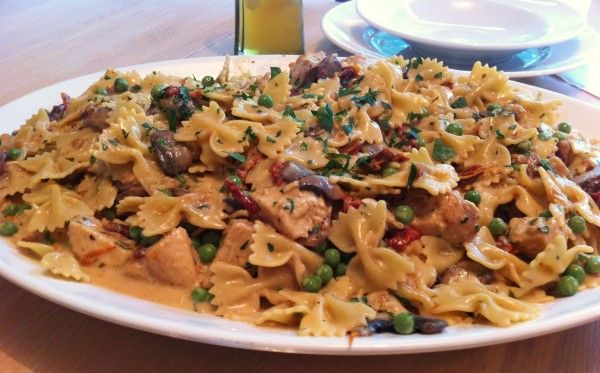 Chicken and Farfalle Pasta in a Roasted Garlic Cream Sauce - Andicakes
