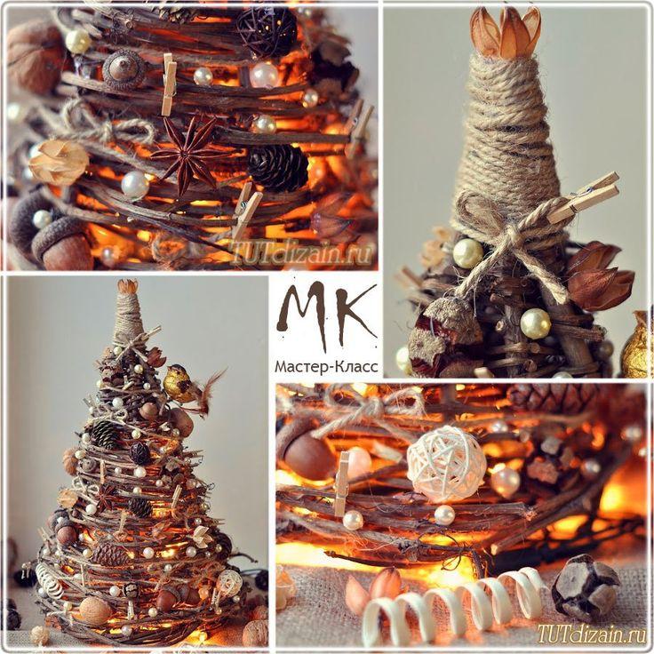 Декоративная елка из веток дерева