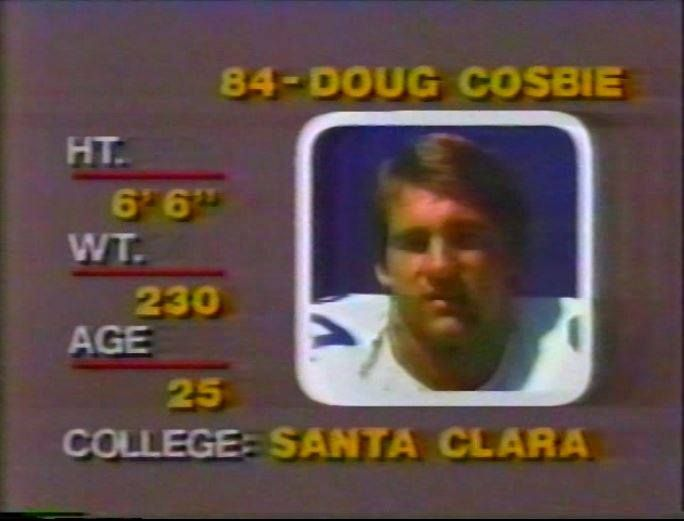 """Head shot of tight end DOUG COSBIE (84) on """"Monday Night Football""""--September 21, 1981"""