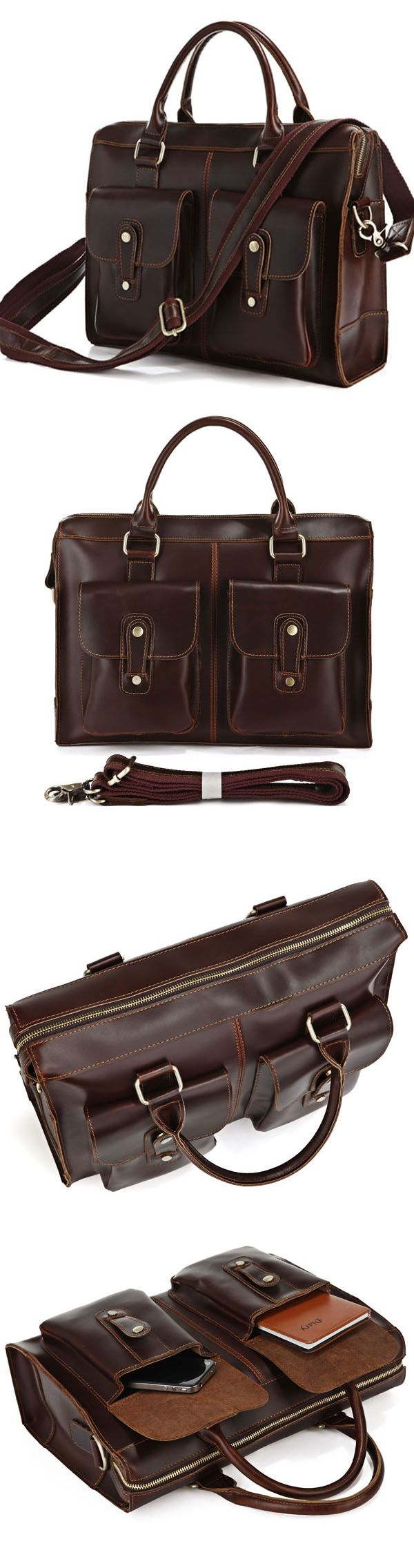 Genuine Hard Cowhide Messenger Bag Briefcase Handbag Laptop Computer Bag Business Travel Tote