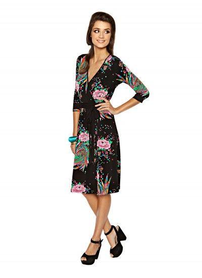 Cressida, 2014 - the Swirly Bird print with V-neckline, faux wrap style and waist tie.