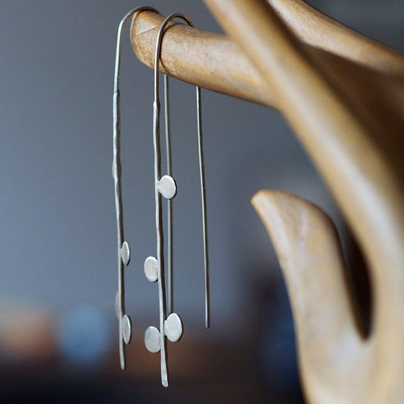 Long thread earrings with small dots. Recycled by oblissjewellery, $65.00