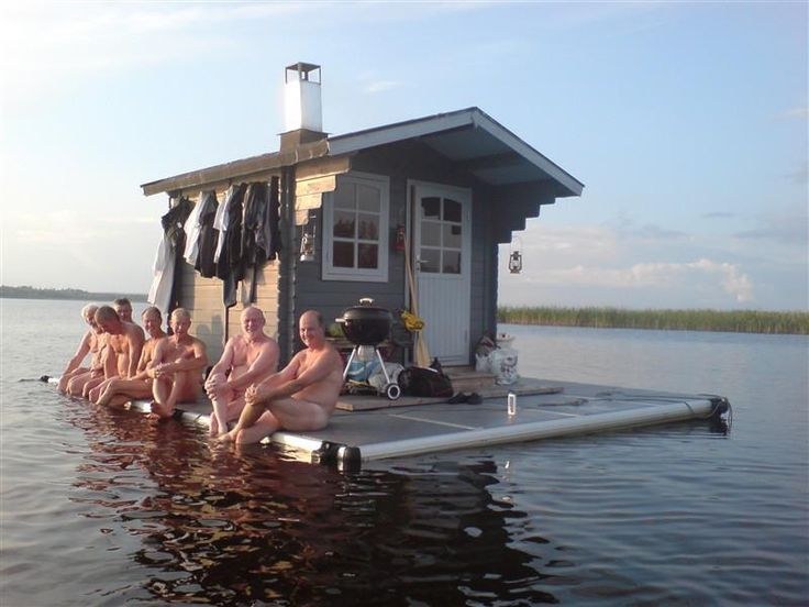 Floating Finnish Sauna. There are more saunas than cars in Finland.