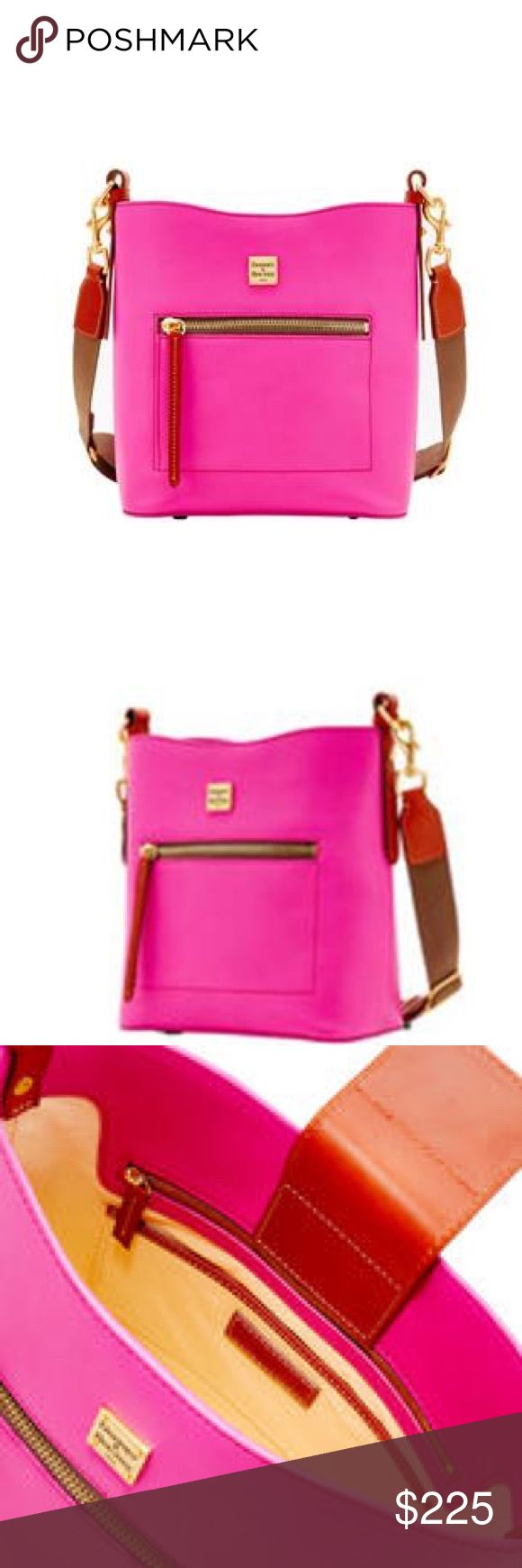 DOONEY & BOURKE LARGE RALEIGH ROXY BAG - NEW! BRAND NEW, NEVER USED! SELLS FOR $328 IN STORES NOW! FINE GRAINED ITALIAN CALFSKIN WITH BUTTER SOFT LEATHER INTERIOR. WIDE ADJUSTABLE SHOULDER STRAP. OUTSIDE ZIPPER POCKET. INTERIOR HAS 4 LARGE POCKETS (2 ZIPPERED) AND A MAGNETIC CLOSURE. BEAUTIFUL FUCHSIA COLOR! COMES WITH D & B DUST BAG. Dooney & Bourke Bags Shoulder Bags