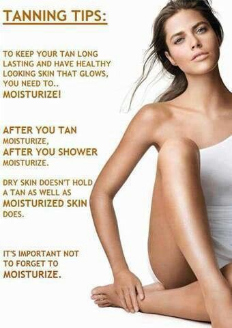 Moisturizer is important to maintain your tan! Do it twice a day & drink lots of water! *Beachy Keen Custom Tans*