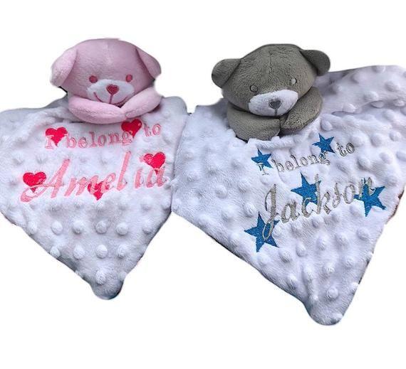 Personalised Baby Comforter Teddy Bear Snuggle Blanket Birth//Christening Gift