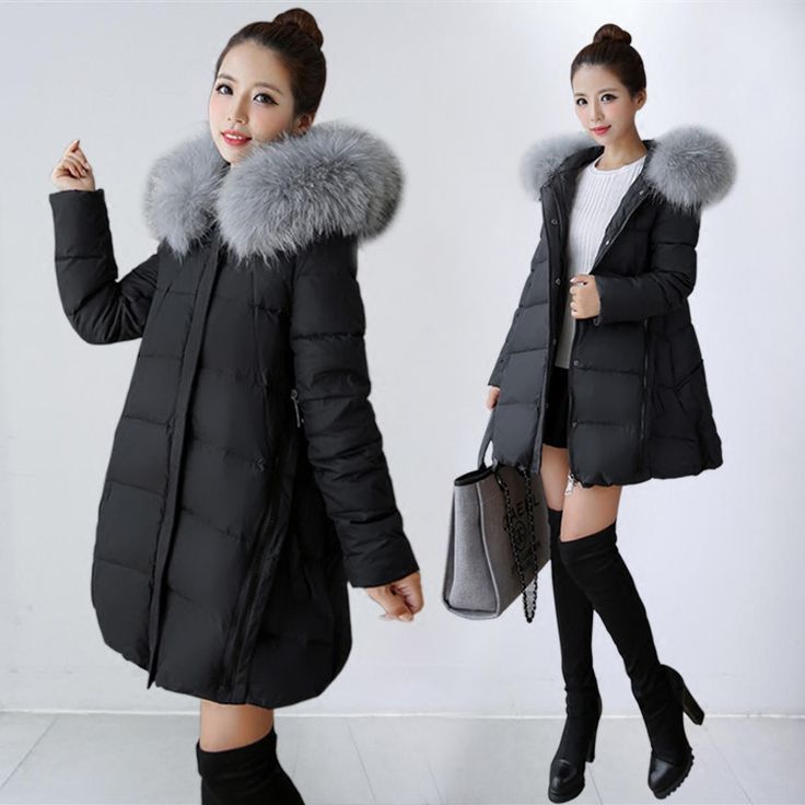 Winter Jacket Women Oversized Coats Large Fur Collar White Duck Down Coat Manteau Femme Women's Down Jacket Plus Size 3XL C2604