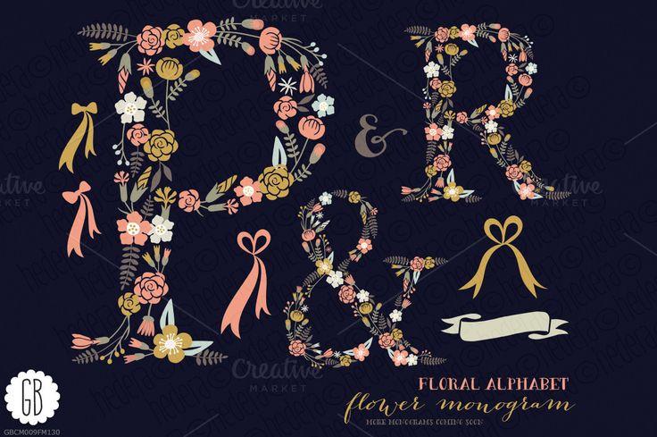 Floral letters, monogram, floral PR& - Illustrations - 1
