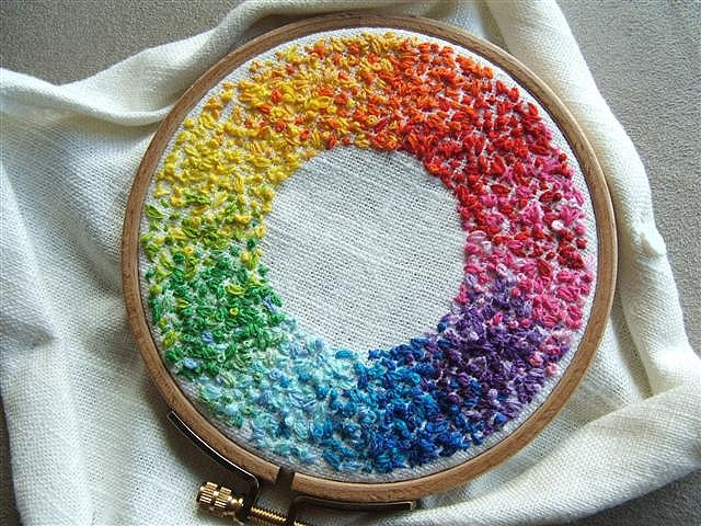 Colorwheel embroidery stitches..I know how much work this takes...amazingly beautiful...flows so smoothly..