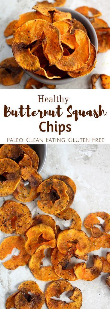 Healthy Butternut Squash Chips are salty, crunchy + slightly sweet. Made with only 4 ingredients, they're the perfect snack to satisfy your junk food cravings!