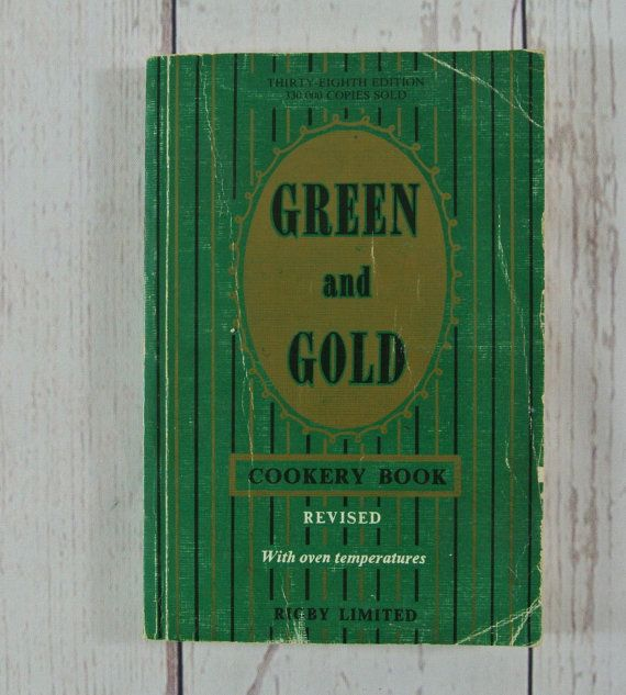 Vintage Green and Gold Cookery Book 38th by greenkittenvintage