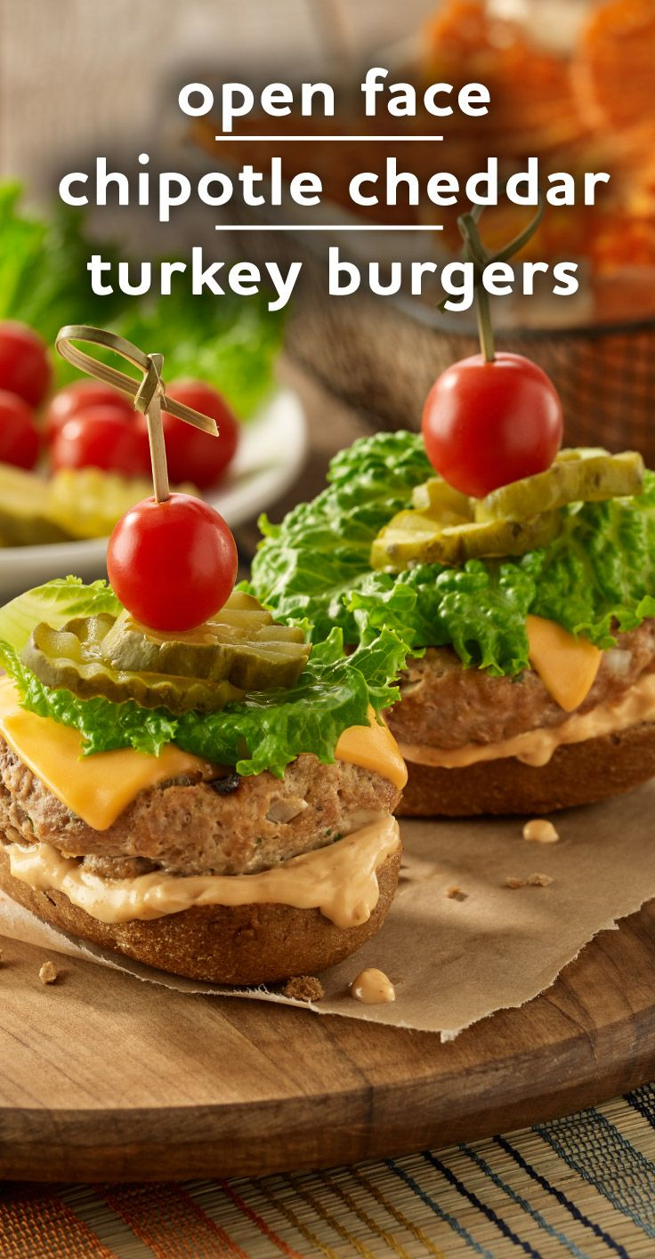 Open Faced Chipotle Cheddar Turkey Burgers | Recipe | Turkey Burgers ...