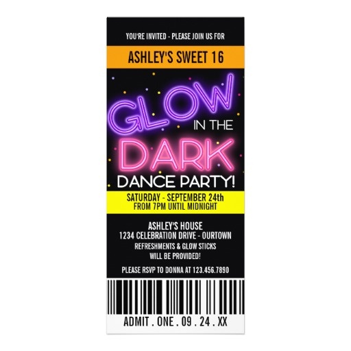 17 Best Glow In The Dark Party Invitations Images On Pinterest