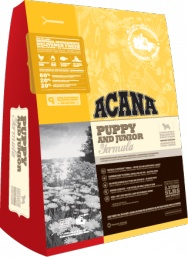ACANA Puppy & Junior  For puppies between 9kg and 25kg at maturity