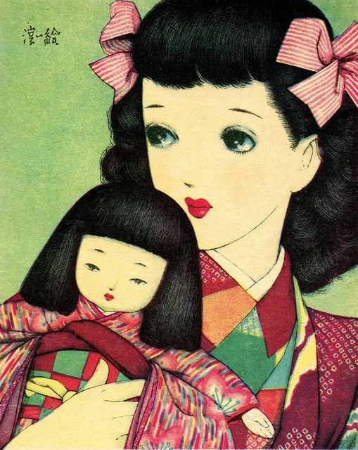 Girl holding a Doll by Junichi Nakahara 1930s.
