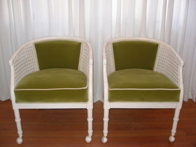 Perfect Cane Chairs With Green Velvet And White Piping