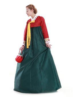 Custom Made Faux Silk Red Green Evening Party Hanbok Korean Dress