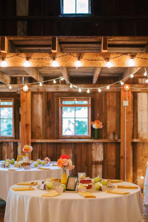 string lighting for wedding reception #weddinglighting #barnwedding #weddingchicks http://www.weddingchicks.com/2014/03/25/local-green-diy-wedding/
