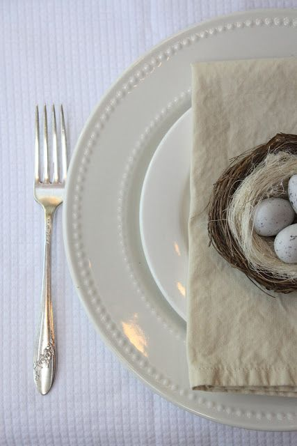 A neutral Easter table setting by My Sweet Savannah: recipes