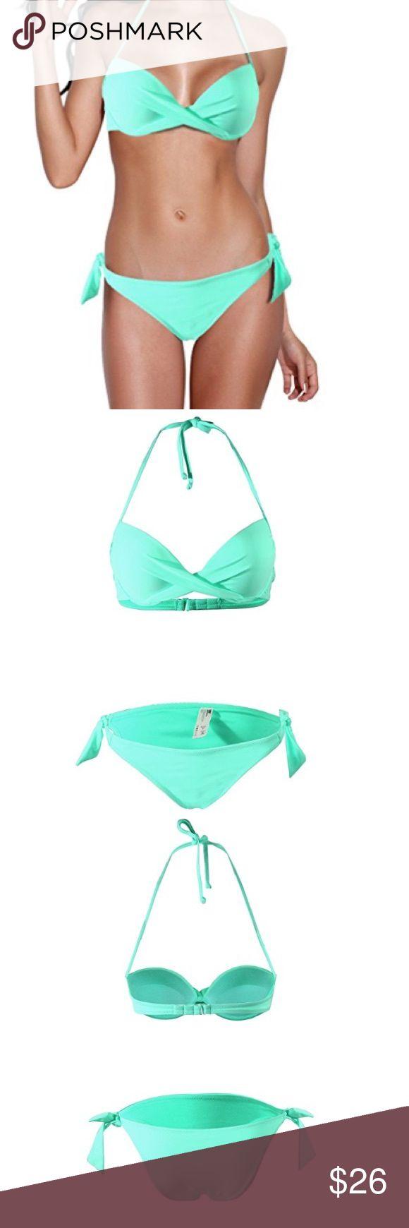 Light turquoise push up bikini. Padded cups with perfect cleavage.  Bikini bottom with side ties. Perfect for full B to D cups komene swimwear Swim Bikinis