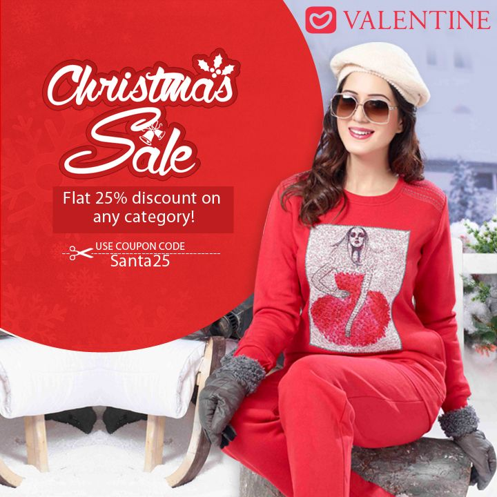 The merriest Christmas for a shopaholic is here! Valentine Clothes provides 25% discount on all categories. Make the most of the sale, have an unforgettable Christmas! To avail the offer, use coupon code- Santa25 View all our products on- www.valentineclothes.com