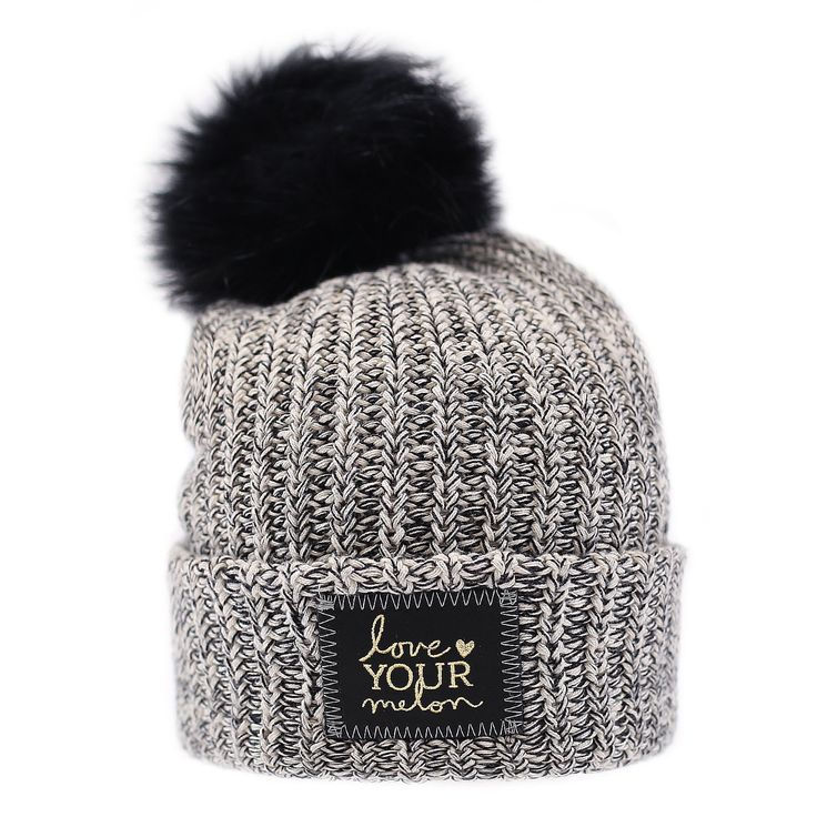 Black Speckled Gold Foil Cuffed Pom Beanie (Black Pom) – Love Your Melon