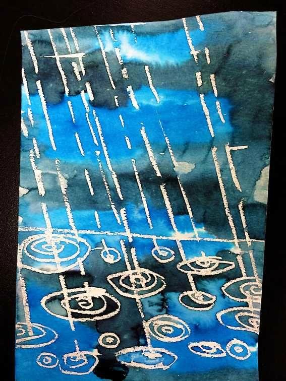 """Toute la pluie tombe sur moi.. Craies grasses et encres ont servi à réaliser ces superbes oeuvres trouvées sur le blog de Natalie, (""""elementaryartfun""""), enseignante d'Arts plastiques au Texas."""
