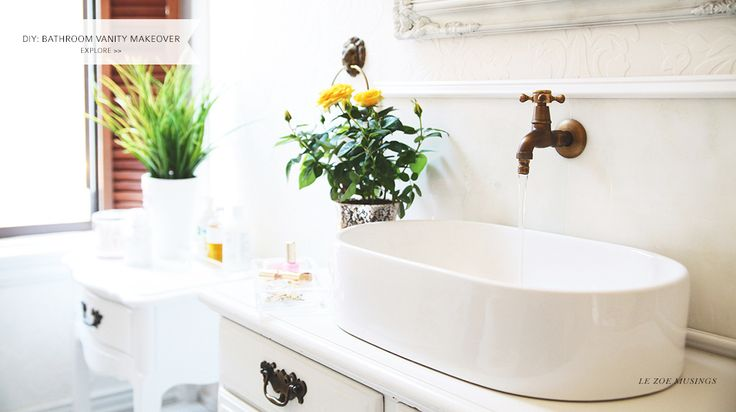DIY Bathroom Vanity Makeover (using a thrifted hutch) by Le Zoe Musings Banner