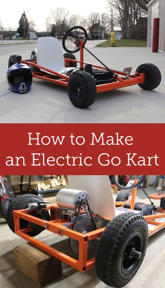 Transform an old gas powered go kart into an electric go kart.