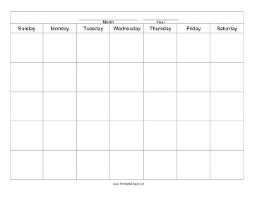 Create your own calendar with this fill in the blank calendar template. Free to download and print