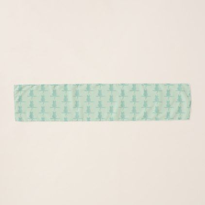 #Funny Mint Cat Pattern Monogrammed Scarf - #cute #gifts #cool #giftideas #custom